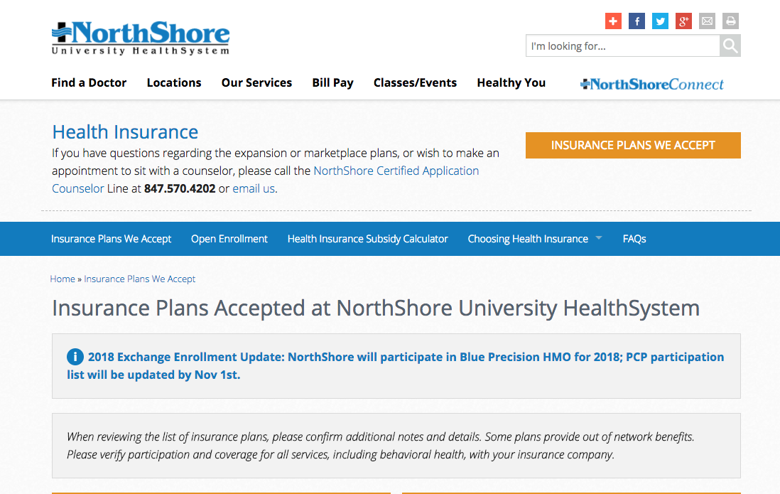 What Health Insurance Plans Do Northshore Hospitals Accept 2020